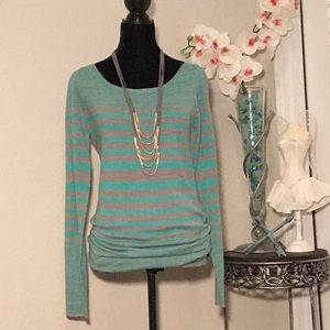 Bongo Sweater-Gray & Green Striped - Size M